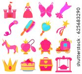 princess accessories icons set. ... | Shutterstock .eps vector #625683290