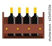wine bottles in a wooden crate... | Shutterstock .eps vector #625691036