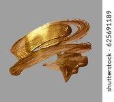 hand drawing gold brush stroke... | Shutterstock .eps vector #625691189