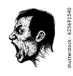 screaming man. black and white... | Shutterstock .eps vector #625691540