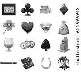 casino icons set in monochrome... | Shutterstock .eps vector #625696943