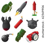 Set of nine Explosive Icons, illustration - stock vector