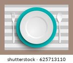 plate  spoon and fork isolated...   Shutterstock .eps vector #625713110