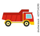 red toy truck car icon. flat...