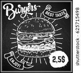 burgers menu cover layout. menu ... | Shutterstock .eps vector #625715498
