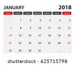 calendar for january 2018  week
