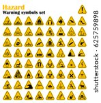 warning hazard triangle signs... | Shutterstock .eps vector #625759898