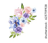watercolor bouquet with anemone ... | Shutterstock . vector #625759928