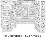 library with bookshelves | Shutterstock .eps vector #625774913