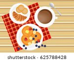 breakfast on the table with... | Shutterstock .eps vector #625788428
