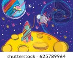 drawing space  moon  space...   Shutterstock .eps vector #625789964
