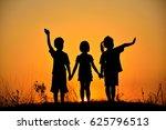 silhouette of three children...   Shutterstock . vector #625796513
