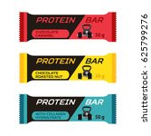 set of different protein bars ... | Shutterstock . vector #625799276