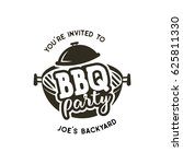 bbq party label in monochrome... | Shutterstock .eps vector #625811330