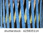 Small photo of Blue abstract geometric pattern on air shaft