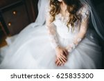 bridesmaid buttoning the dress... | Shutterstock . vector #625835300