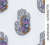 seamless hamsa pattern with... | Shutterstock . vector #625836770