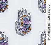 seamless hamsa pattern with... | Shutterstock . vector #625836770
