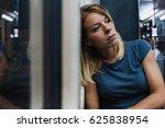 young woman riding a public bus ... | Shutterstock . vector #625838954