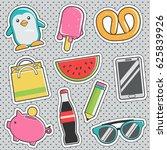 set of fun trendy vintage... | Shutterstock .eps vector #625839926