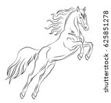 prancing mustang drawn in a... | Shutterstock .eps vector #625851278
