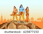 illustration of lord rama  sita ... | Shutterstock .eps vector #625877153