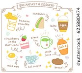 set of cute breakfast and... | Shutterstock .eps vector #625880474