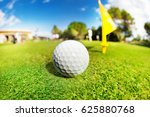 white golf ball on the fairway... | Shutterstock . vector #625880768