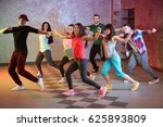 group of young hip hop dancers... | Shutterstock . vector #625893809