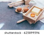 baking ingredients for a... | Shutterstock . vector #625899596