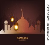 ramadan lanterns or shiny lamps ... | Shutterstock .eps vector #625901150