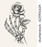 Handdrawn Skeleton Bones Hand...