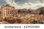 Small photo of Panoramic view of the Roman Forum in summer, Rome, Italy. The Roman Forum is the remains of architecture of the Roman Empire. Vintage panorama of ancient ruins in Rome center on a sunny day.