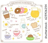 set of cute breakfast and... | Shutterstock .eps vector #625926254