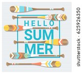 hello summer background with... | Shutterstock .eps vector #625926350