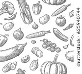 seamless pattern vegetables.... | Shutterstock .eps vector #625940744