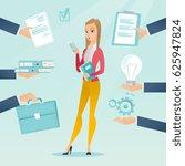 caucasian hard working business ... | Shutterstock .eps vector #625947824