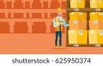 caucasian warehouse worker... | Shutterstock .eps vector #625950374