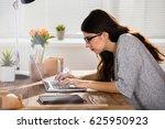businesswoman sitting in wrong...   Shutterstock . vector #625950923