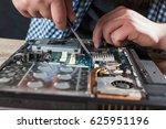 engineer hands repairs laptop... | Shutterstock . vector #625951196