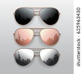 realistic sunglasses set.... | Shutterstock .eps vector #625963430