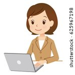 cute style business woman using ... | Shutterstock . vector #625967198