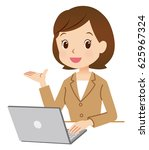 cute style business woman using ... | Shutterstock . vector #625967324