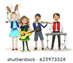 group of kids  include the boy... | Shutterstock .eps vector #625973324
