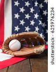 baseball bat and glove on... | Shutterstock . vector #625976234