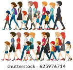 faceless people walking in... | Shutterstock .eps vector #625976714