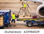 unidentifiable airport worker... | Shutterstock . vector #625986029