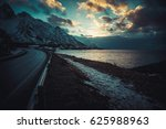open road at the lofoten... | Shutterstock . vector #625988963