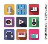 music icon set drawn by... | Shutterstock .eps vector #625989350