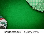 cards and chips on green felt... | Shutterstock . vector #625996943